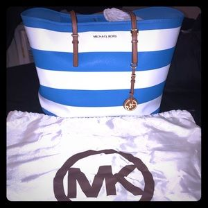 Summer blue and white Michael Kors Tote